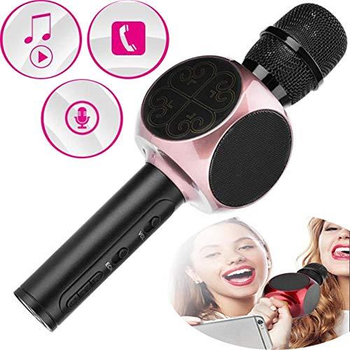 WYGC MIC Bluetooth Karaoke Mikrofon Wireless Handheld Eingebautes RGB-LED-Licht Mikrofon-Player-Aufnahmelautsprecher Stereo-Umgebung für iOS , Android und Smartphone (Farbe : Rosa) (Rosa Mikrofon Wireless)