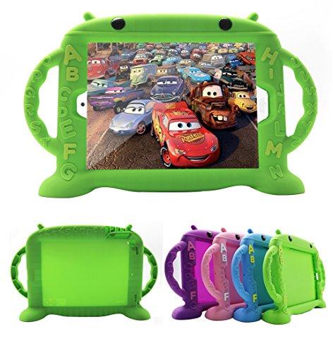 CHIN FAI iPad 2 Hülle für Kinder, BPA FREI Niedliche Silikonkautschuk Hülle mit Griff für iPad 2/3/4 [Stoßfeste Gitterstruktur] [Schlankes Design] (Grün)