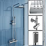 iBath - Colonna doccia con miscelatore termostatico quadrato, soffione fisso da 20,3 cm e doccetta