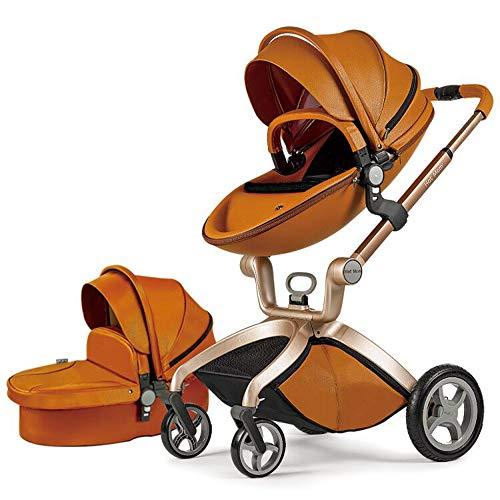 Hot Mom Kombikinderwagen mit Buggyaufsatz und Babywanne 2020 (Braun Schwarz)