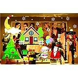 Yazidan Weihnachten Haushalt Zimmer Mauer Aufkleber WandgemäLde Dekor Abziehbild Entfernbar Schneeflocken Baum Schneemann Fenster SchöN Hirsch Zuhause Kunst Dekoration Weihnachtsmann Rentier(D)