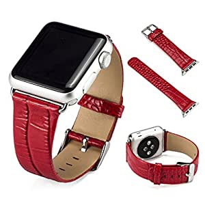 Apple Watch Band, 4-FQ 38mm iWatch [100% Genuine Leather] Replacement Watch Strap Wrist Band with Metal Clasp for Apple Watch & Sport & Edition-B52-Red 38mm