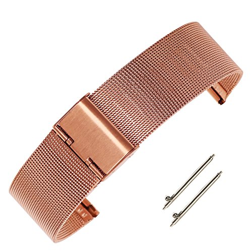 18mm Adjustable Pink Gold Watchband Milanese Stainless Steel Mesh Watch Chain Bracelet with Hook Buckle