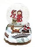 ambestore Große Mechanische Schneemann Spieluhr Schneekugel Schüttelkugel Weihnachtsmann Rentier Schlitten 11cm Ø Dekoration Spieldose Weihnachten Weihnachtsdeko Musik