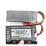 SH-Flying Detector de batería, probador de batería, comprobador de capacidad de batería digital RC CellMeter 7 para LiPo LiF, comprobador de capacidad de batería digital de 90 25 15 mm