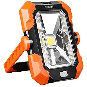 Finether Luz de Trabajo Foco LED Recargable de Solar y USB, Lámpara de Trabajo Impermeable IP64, 4 Modos de Iluminación con Mango ajustable y magnético