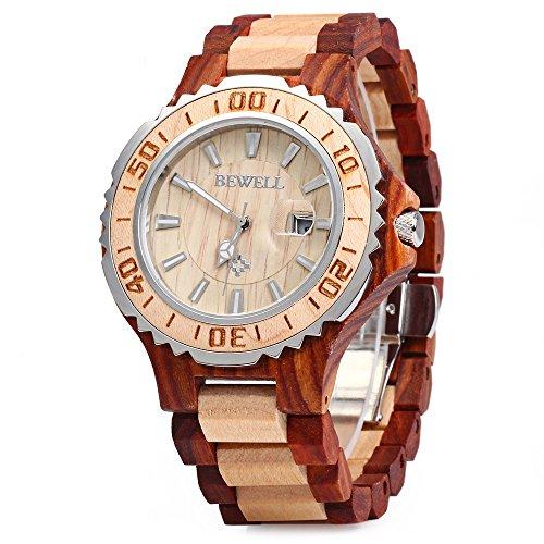 bewell-zs-100bg-montre-a-quartz-homme-montre-en-bois-retro-boitier-metallique-analogique-rouge-santa