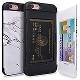 TORU CX Pro iPhone 6S Hülle Kartenfach Muster mit Verstecktes Ausweis-Slot Kreditkartenhalter und Spiegel für iPhone 6S / iPhone 6 - Marble Stone
