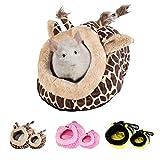 URIJK Kleine Tier Haus Nest Gemütlich Warm Plüsch Baumwolle Schlafen Bett Höhle für Lgel Katze Kaninchen Hamster Meerschweinchen Chinchilla (L, Giraffe)