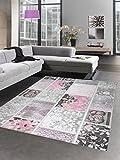 Vintage Patchwork Teppich Wollteppich Bettumrandung grau creme rosa Größe 80 x 300 cm