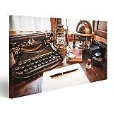islandburner Quadro moderno Oggetti vintage, macchina fotografica, penna, globo, orologio, macchina da scrivere sulla vecchia scrivan Stampa su tela - Quadri moderni GYC-1P