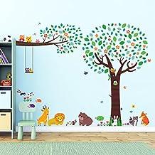 Decowall DML-1312P1410 Árbol Grande con Amigos Animales y una Rama con Búhos Vinilo Pegatinas Decorativas Adhesiva Pared Dormitorio Salón Guardería Habitación Infantiles Niños Bebés