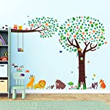 Decowall DML-1312P1410 Large Tree with Animal Friends and Branch with Owls Kids Wall Stickers Wall Decals Peel and Stick Removable Wall Stickers for Kids Nursery Bedroom Living Room