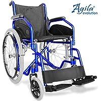 AIESI Rollstuhl faltbar leichter selbstfahrender - Klapprollstuhl für ältere und behinderte menschen AGILA EVOLUTION ✔ Ausziehbare armlehnen und fußstützen ✔ Sicherheitsgurt ✔ 24 Monate Garantie