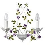 MW-Light 421024502 Florentiner Wandleuchte Kerzen 2 Armig Weißes Grünes und Lila Metall Blumenförmig für Schlafzimmer Wohnzimmer Halle 2 x 40W E14