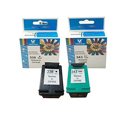 VICTORSTAR @ Remanufacturés Cartouches d'encre Remplacement Pour HP 338 (1 Noir C8765E) + HP 343 (1 tri-couleur C8766E) Haute Rendement / Imprimantes HP 5740/6450/6520/6540/6620/8840/9800/6210/7210/7310 …