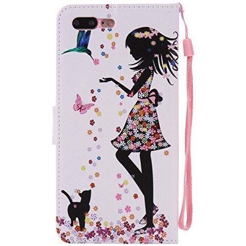 Custodia iPhone 7 Plus/iPhone 8 Plus,Gray Plaid Premium PU Pelle Protettiva Flip Portafoglio Cover Case per iPhone 7 Plus/iPhone 8 Plus - Albero colorato Donna e gatto