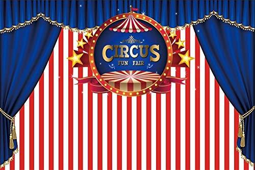 Cassisy 3x2m Vinyl Zirkus Fotohintergrund Rote weiße Streifen Tapete Banner Stars Blauer Vorhang Fotoleinwand Hintergrund für Fotoshooting Fotostudio Requisiten Party Kinder Photo Booth (Rote Weiße Und Banner Blaue)