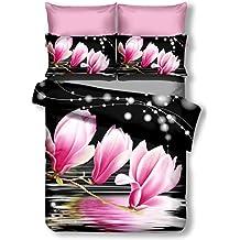 decoking Premium 00885Ropa de cama 155x 220cm, con 1funda de almohada de 80x 80Negro 3d microfibra edredón de cama flores flores Black blanco White Rosa Rojo y Gris Rosa Lulu Dia