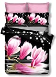 DecoKing Premium 00878 Bettwäsche 135x200 cm mit 1 Kissenbezug 80x80 schwarz 3D Microfaser Bettbezug Bettwäschegarnitur Blumen Blumenmuster black weiß white rosa amarant pink Luludia