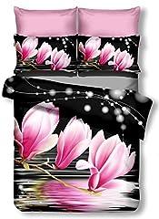 Idea Regalo - DecoKing Premium 00908Copripiumino matrimoniale 200x 220cm con 2federe 80X 80microfibra 3d nero completo letto lenzuola fiori motivo floreale bianco bianco nero rosa amaranto Pink Lulu Dia
