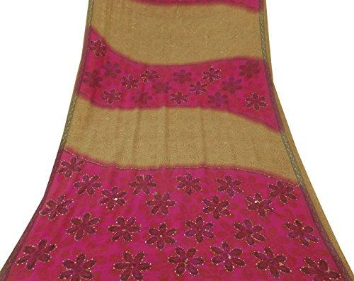 Indian Vintage-Schneiderei Hand Perlen Rosa Krepp Seide Saree Gebrauchte Craft Sari (Krepp-perlen)