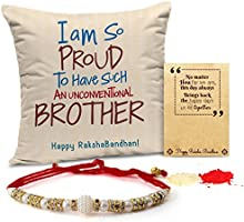 Tied Ribbons Rakhi For Brother Printed Cushion(12 Inch X 12 Inch) With Rakhi And Roli Chawal Pack For Men/Boys