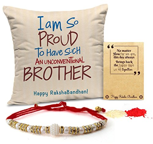 TIED RIBBONS Printed Poly Cotton Cushion with Rakhi and Roli Chawal Pack for Brother, 12x12 Inches (TR-RB17-BR-CushionRakhi2L003)