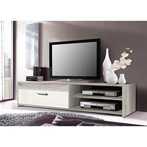 KATSO Meuble TV 120 cm chene/blanc brillant