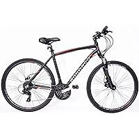 ammaco cs750da uomo Hybrid freni a disco idraulici 24velocità Blocco forcella Telaio 19 - Freni Mountain Bike A Disco Idraulici