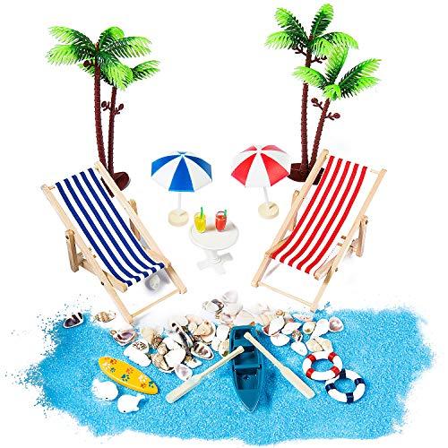 ZWOOS Set di Ornamenti Stile Spiaggia Miniatura 18 Pezzi di Ornamenti Miniatura per Decorazione per casa delle Bambole e Piante