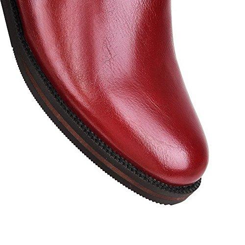 VogueZone009 Damen Pu Leder Metalldekoration Ziehen Auf Niedriger Absatz Stiefel Rot