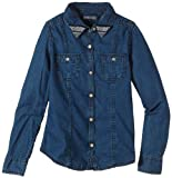 Tommy Hilfiger Mädchen Bluse GIRLS DENIM BLOUSE L/S, Einfarbig, Gr. 128 (Herstellergröße: 8), Blau (BLUE CHAMBRAY)