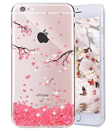 Ekakashop Compatible avec Coque iPhone 6S,Transparent Coque Compatible avec iPhone 6, Jolie Fleurs de Cerisier Rose Glitter Dessin Ultra Mince TPU Silicone Crystal Clair Souple Gel Housse Swag Bumper