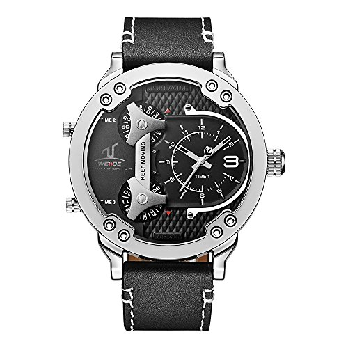 Herrenarmbanduhr Analog Quarz Fashion Business 3Zeitzonen Schwarz Echtes Leder Armbanduhr uv1506–1C