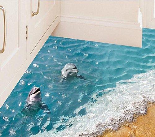 (Deloito 3D Strand Seestern Delphin Boden/Wandaufkleber Entfernbares Wandbild Decals Vinyl Kunst Wohnzimmer Dekore (B, 60cm*90cm))
