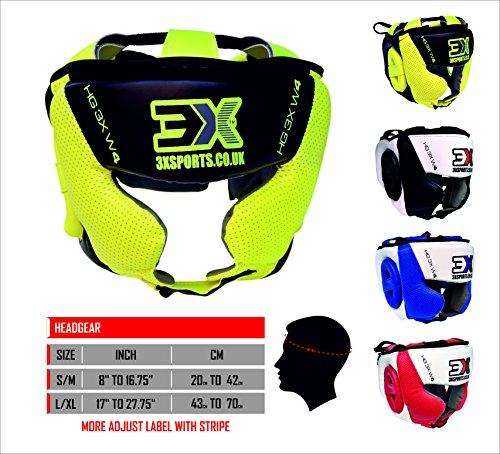 3 x deportes cabeza Guardia MMA UFC artes marciales Muay Thai Kick Boxeo Rugby Headgear formación color (verde lima, grande)