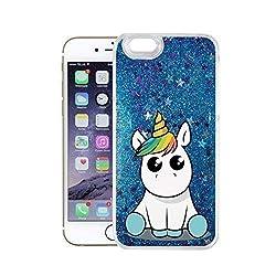 Finoo iPhone 6/6S Flüssige Liquid Blaue Glitzer Bling Bling Handy-Hülle | Rundum Silikon Schutz-hülle + Muster | Weicher TPU Bumper Case Cover | Einhorn 02