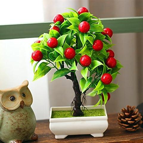 YLSZ-Emulation Mini Mini Topfpflanzen Topfpflanzen Kunststoff Künstliche Blumen Desktop Wohnzimmer, Rote Frucht Bäume Kleine