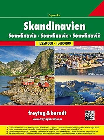 Skandinavien Superatlas, Autoatlas 1:250 000 - 1:400 000, Norwegen, Schweden, Dänemark, Finnland (freytag & berndt