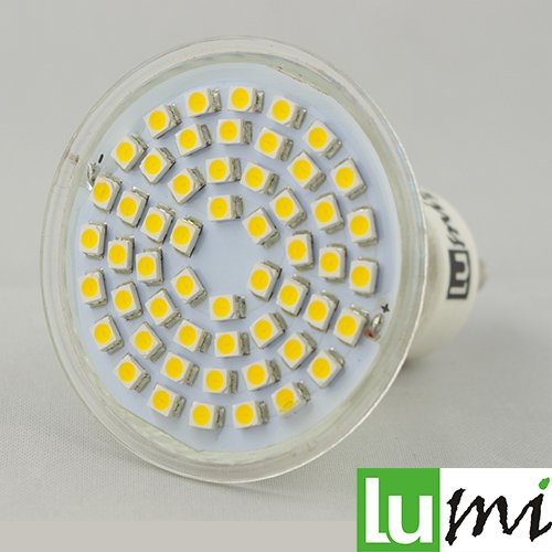 Preisvergleich Produktbild 10x Lu-Mi® LED GU10 54x3528SMD 3W Glass Warmweiß Lampe Birne
