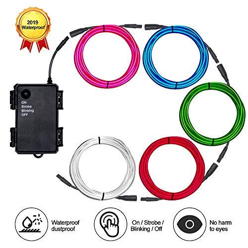 Basdien Elektrolumineszenz-Draht, wasserdicht, 5 x 1 m, Mehrfarbig, Stecker auf Buchse, mit tragbarem EL-Draht-Wechselrichter für Kostüme, Dekorationen