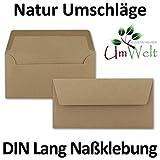 100x Kraftpapier-Umschläge DIN Lang - sandbraun - Nassklebung 11 x 22 cm - Brief-Umschläge aus Recycling-Papier - Einladungs-Umschläge Serie UmWelt