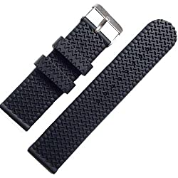 Black Rubber Watch Wristwatch Strap Band 22mm Strap Watch Tire Buckle Silicone
