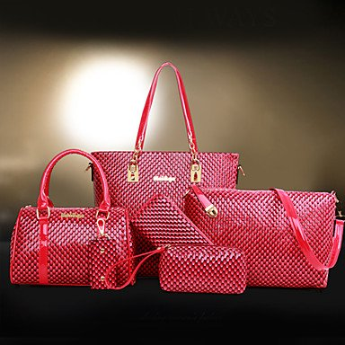 La donna pu formale / Casual / Ufficio & Carriera / Shopping Borsa a tracolla / Tote Bag / Imposta blu / giallo / Marrone / rosso / nero,Fuchsia Brown