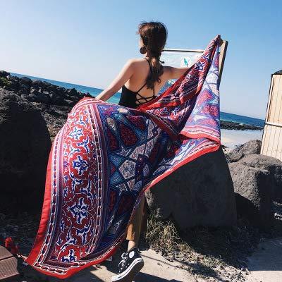 Schals Wraps Ethno-Stil Strandtuch Schal Vier Jahreszeiten Seidenschal tibetischen europäischen Prinzessin Shirt Dünnschnitt Schal große Größe Liebe handgemacht, M-Marokko Stil rot