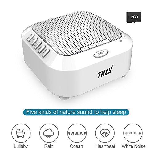 Weiße Geräuschmaschine,THZY tragbare Schlaf-Soundmaschine mit 5 Rauschoptionen und Nachtlicht-Modus,3 Timer und wiederaufladbare spielen die ganze Nacht für Baby,Kinder (enthalten 2G TF-Karte) (Reise-schlaf-maschine)