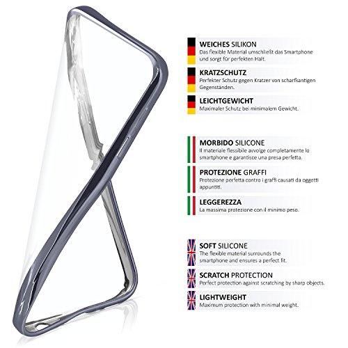 iPhone 5S Hülle Silikon Transparent Pink [OneFlow Chrom Back-Cover] Silikonhülle Dünn Schutzhülle Handyhülle für iPhone 5/5S/SE Case Ultra-Slim Tasche TPU ANTHRACITE-BLACK