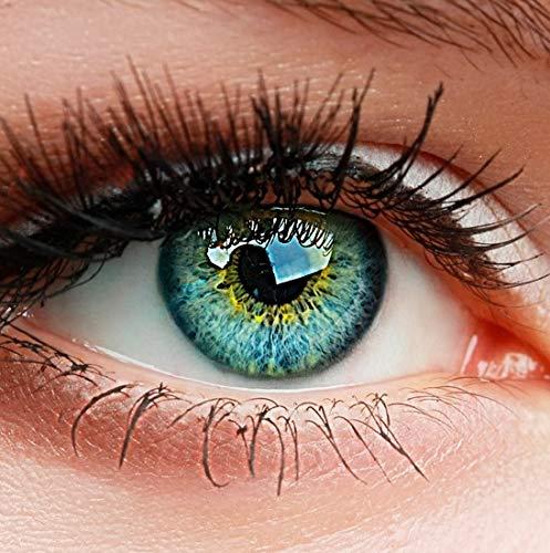 ntaktlinsen, 3-Monatslinsen, besonders natürlicher Look, maximaler Tragekomfort, SUPREME Serie, ohne Stärke, 1 Paar weiche Farblinsen ohne Zusatzbehälter (Blau) ()