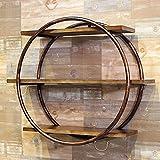 Magasin de vêtements Étagère murale en fer forgé / Étagère murale en bois massif Vintage Présentoir rond / L80 * W15.5 * H66cm / Couleur: noir | bronze ( Couleur : Bronze )...